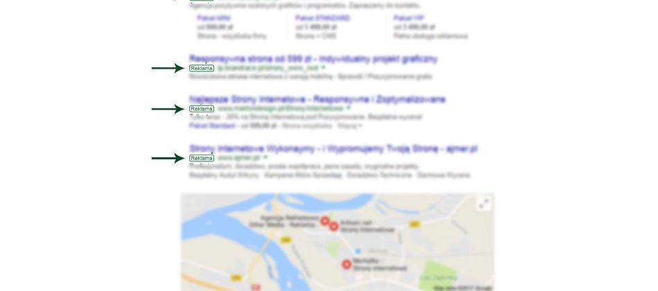 reklama adwords w wyszukiwarce górne